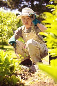 Older woman working in garden feeling tired
