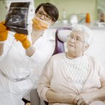 Senior woman at the dentist. Ageism and dental care concept