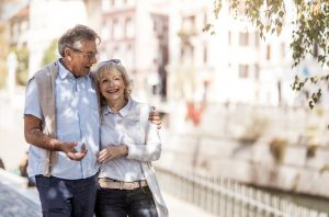 Couple on a senior-friendly vacation in Europe