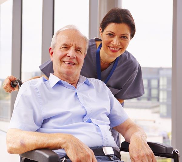 home care nurse with elderly als patient